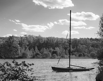 Wellesley College Waban Lake. Elegant b&w image carefully processed to capture the best aspect of this campus landscape. A truly unique gift