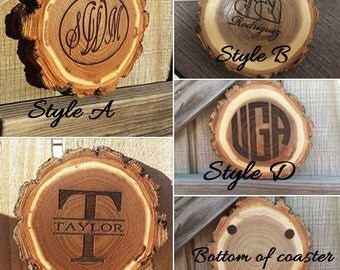 Rustic coasters, coaster set, wood coasters, monogrammed coaster, rustic wood coaster, personalized coaster, custom gift, personalized gift