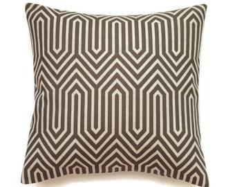 Brown Geometric Pillow Cover, 18x18 Pillow Cover, Decorative Pillows, Designer Sofa Pillow, Throw Pillow, Modern Decor, Trail Italian Brown
