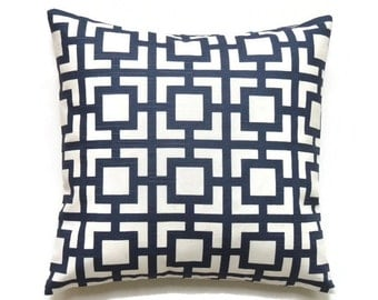 Blue Geometric Pillow, 20x20 Pillow Cover, Decorative Pillows, Modern Throw Pillow Covers, GiGi Premier Navy Slub
