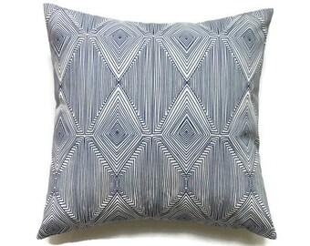 Blue Pillow, 20x20 Pillow Cover, Geometric Throw Pillow, Toss Pillows, Modern Pillow, Cushion Cover, Nate Berkus Linea Paramount Caspian