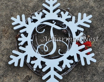 Wooden Snowflake Monogram- Holiday Wooden Monogram Letter- Interlocking Script, Door Hanger Wreath- Christmas- winter holiday decor