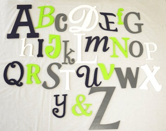 Random PAINTED alphabet set Unfinished wooden letters wall decor - A through Z-
