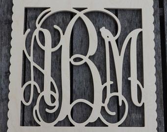 Wooden Monogram- Unfinished Vine Script Monogram in Square Border - Monogram Wedding Guest Book - Monogram Home Decor