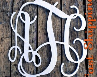 Wooden Monogram-Ready to Paint-Monogram your Home- Wedding Monogram- Home Decor- Nursery Letters- Wall Hanging