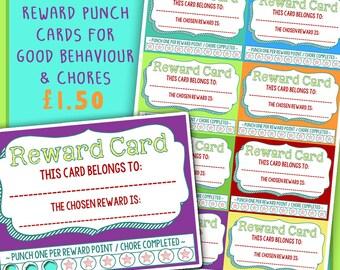 Reward Punch Cards, cute chore reward cards:  Instant Downloadable Printables