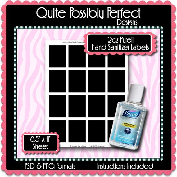 2oz mini hand sanitizer label template by quitepossiblyperfect. Black Bedroom Furniture Sets. Home Design Ideas
