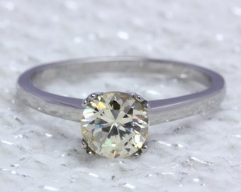 Genuine 1ct Citrine solitaire ring in Titanium or White Gold - engagement ring - wedding ring - handmade ring