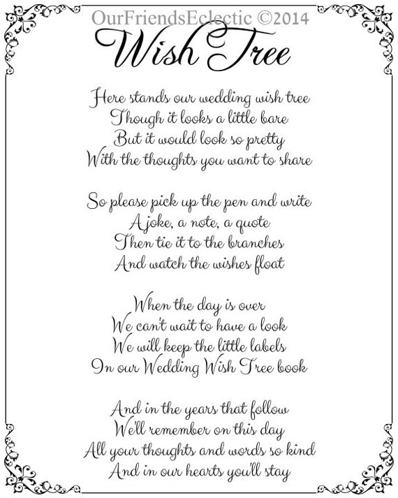 Wish Tree Poem Wishing Sign 8 X 10 No Background For You To Print On Your Chosen Colour Card