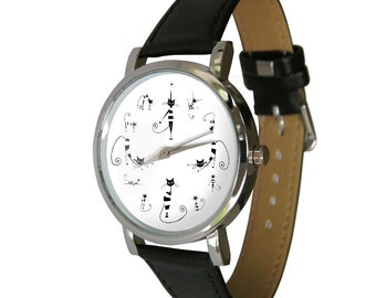 Cats design wristwatch - Black and White image - Cat Lovers - Cat Gift - mens watch - womans watch