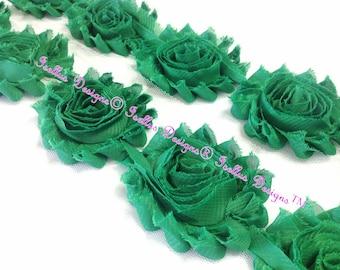 "Beautiful 6 Piece 2.5"" Emerald Green Shabby Flowers"