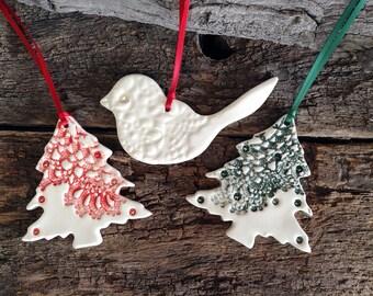 Handmade Christmas Decorations - Set of Three, Red Tree, Green Tree, White Lace Bird
