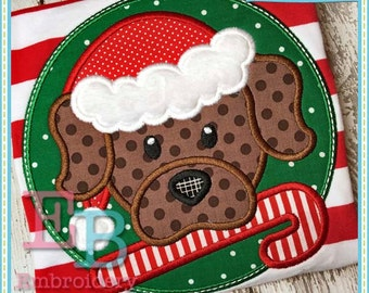 Candy Cane Dog Applique - This design is to be used on an embroidery machine. Instant Download