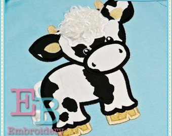 Cow Applique - This design is to be used on an embroidery machine. Instant Download