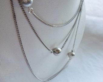 Asymmetrical Metal Bead Necklace