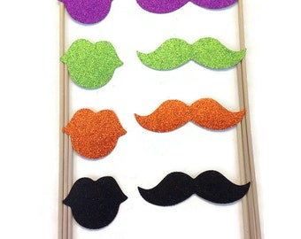 8 Piece Halloween Photo Booth Set- Photo Booth Props With Glitter
