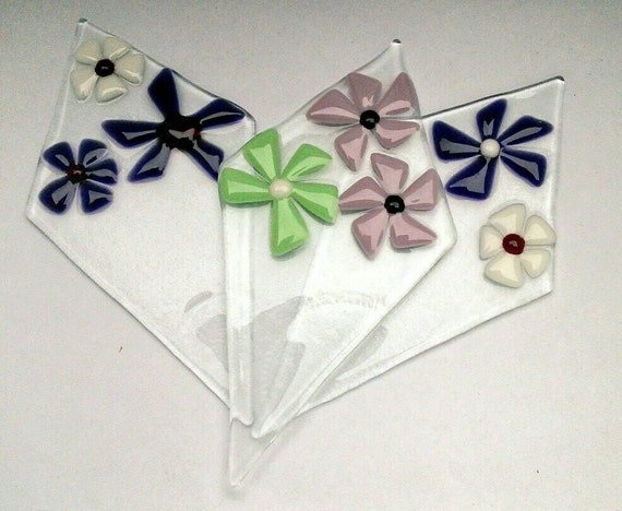 Handmade Fused Glass Floral Plant pot diamonds