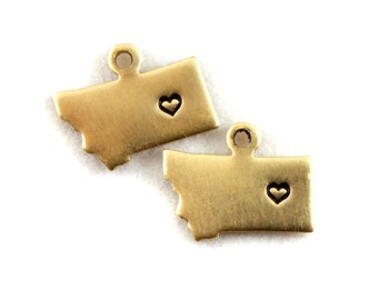 2x Brass Montana State Charms w/ Hearts - M073/H-MT