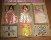 Vintage Bridal Party Sewing Kit with Hard Plastic Dolls Hassenfeld Bros. 1950s