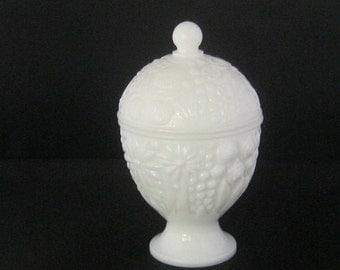 Milk White Avon Covered Candy Dish