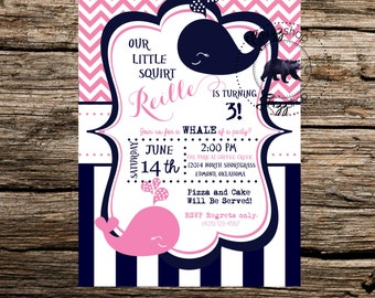 Pink Whale Birthday Invitation
