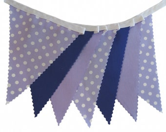 5m Length -  Bunting in Purple, Lilac and Lilac with White Spot - Wedding Birthday