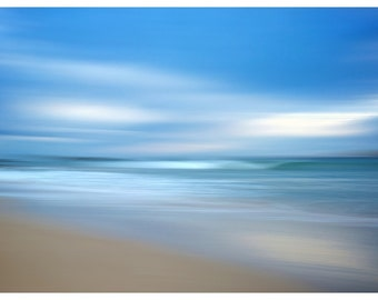 Abstract Beach Photography, Blue Clouds Waves Beach Print, Home Decor Beach Print, Abstract Beach Print, Abstract Wave, Blue, Grey, Sand