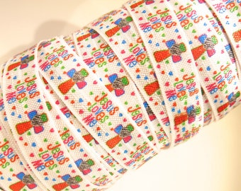 "3 yards of FOE 5/8 inch ""Jesus loves me"" fold-over elastic ribbon"