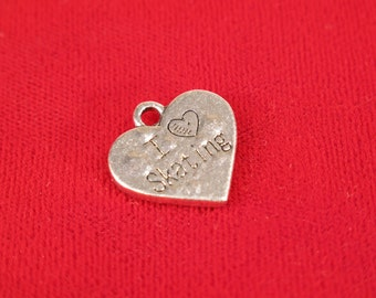 "5pc ""I love skating"" charm in antique silver style (BC376)"