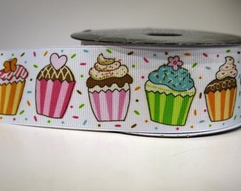 "4 yards of 1.5 inch ""Cupcake"" grosgrain ribbon"