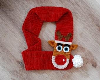 reindeer, crochet scarf, scarf pattern, reindeer pattern, christmas scarf, animal scarf, wearable art, reindeer scarf, PDF crochet pattern