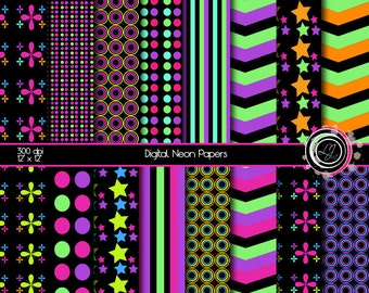Neon Digital Papers, Party Papers, Bright Digital Paper, Scrapbook, Craft, Supply, Neon Green, Neon Pink, Neon Blue, Neon Purple, Patterned