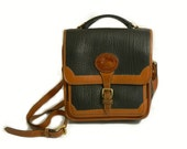 Vintage Dooney and Bourke Leather Cross Body Purse, Brown and Navy, Large