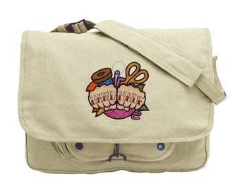 Handmade Tattoo Embroidered Canvas Messenger Bag