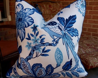 One or Both Sides - ONE High End Schumacher Huntington Gardens Bleu Marine Pillow Cover with Self Cording