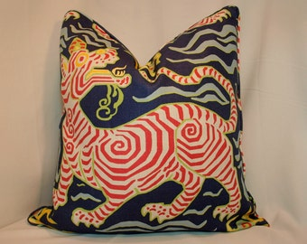One or Both Sides - ONE High End Clarence House Tibet Print Navy Pillow Cover fully lined with Self Cording