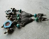Blue Floral Chandelier Earrings,  Blue Flower Dangle Earrings, Bohemian Earrings, Gypsy chandelier earrings