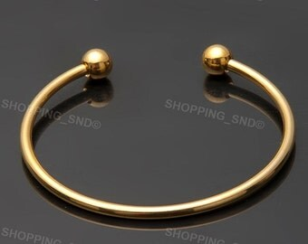 Gold Bangle Bracelet Screw Ball Cuff Fit Charm Beads Jewelry Making free shipping worldwide  #BRC-BANGLE-G