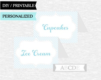 Light Blue and Grey Personalized Food Labels, Baby shower, Birthday food labels, DIY Printable ( PDES001)