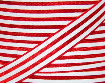 Red and White Stripe Fold Over Elastic - Elastic for Baby Headbands and Hair Ties - 5 Yards 5/8 inch Printed FOE