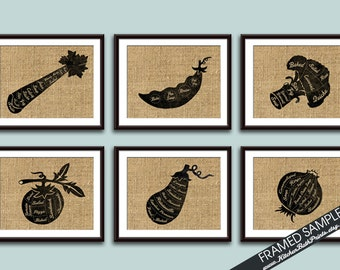 Vegetable Butcher Diagrams -Set of 6 Art Prints (Featured in French Country) Customizable Kitchen Vegan Vegetarian Gift Ideas