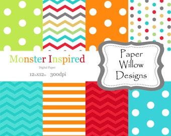 Monster Inspired-(08)-12x12 Digital Paper-300 Dpi-Instant Download-Stripes-Chevron-Polka Dots
