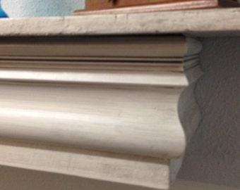 Floating Shelf, Rustic Mantle Shelf, Shabby Chic Floating Shelf, Distressed White Mantle Shelf with Gray Glaze