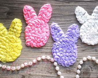 """You Pick Colors - 3"""" Shabby Chiffon Easter Bunnies - Rosette Rabbits - Shabby Chiffon Rosettes Bunny - HairBow Wholesale Supplies"""