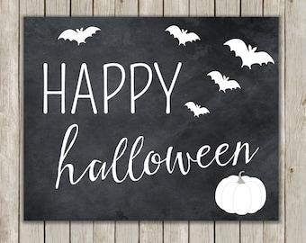 8x10 Happy Halloween Print, Typography, Black Print, Bat Wall Art, Digital Art, Art Poster, Halloween Decor, Fall Decor, Instant Download