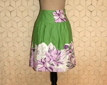 Womens Skirts Small Cotton Green Purple Floral Print Full Midi Skirt Spring Skirt Summer Skirt Casual Ann Taylor Size 4/6 Womens Clothing