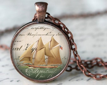 Antique Ship Sailing Necklace Art Pendant Ocean Necklace Old Boat Nautical Handmade Pendant made in Venice Italy