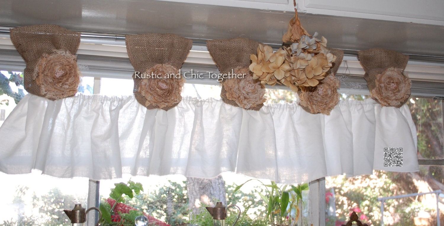 White Linen Burlap Valance Curtains handmade by RusticChicTogether