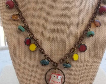 Owl beaded necklace on copper chain