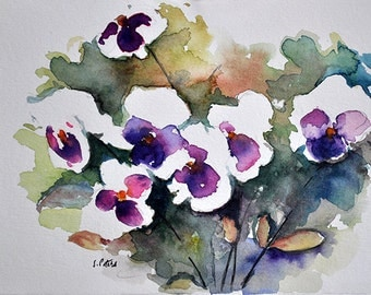 ORIGINAL Watercolor Painting, Still Life Floral Painting, Pansies Bouquet In a Vase 5.5x8 Inch